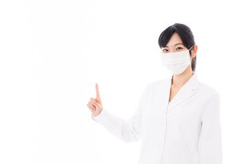attractive asian doctor with mask on white background