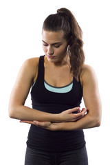 young female with muscle strain / cramps