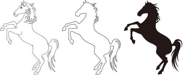 馬 竿立ち モノクロ
