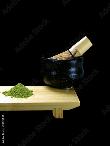 Green matcha tea with cup