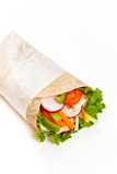 Tortilla Wrap with meat on white background