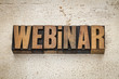 webinar word in wood type