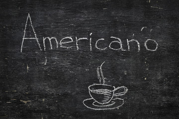Chalk on black board: Americano
