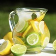 jug with fresh lemonade outdoor in summer day