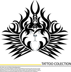 illustration of tattoo heart symbol on white