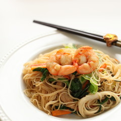 chinese food, shrimp and rice noodles stir fried
