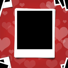 Polariod photo frame on heart red background