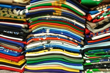 Stack of Colorful t-shirt