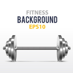 Vector fitness background with metal dumbbell