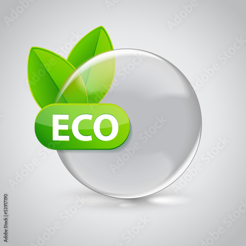 Eco sign in 3D glass sphere with green leafs