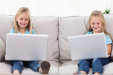 Young twins using laptops sitting on a couch