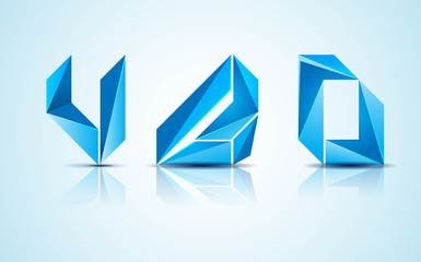 Abstract blue logo elements