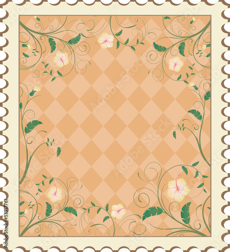 Flower branded postcard with oriental pattern