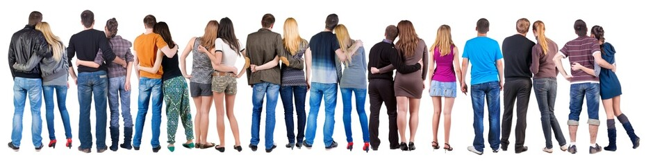 Back view group of couple.