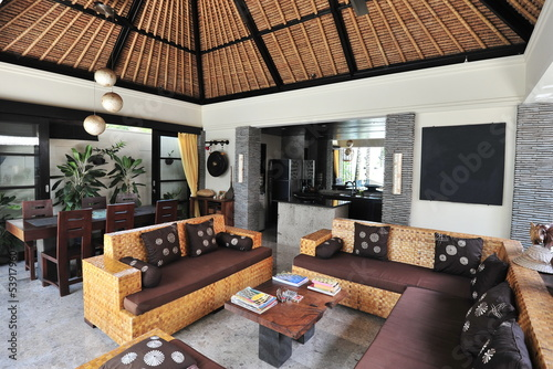 Interior of luxury tropical villa - lounge area