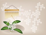 A Musical Bar Chimes and Jasmine on Brown Background poster