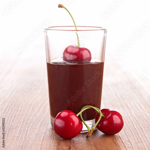 chocolate sauce and cherry