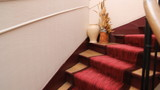 Climbing up red stairs in a Paris apartment. Steady cam.