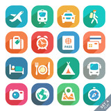 Traveling and transport Flat icons for Web and Mobile Applicatio