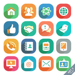 Communication and media Flat icons for Web and Mobile App