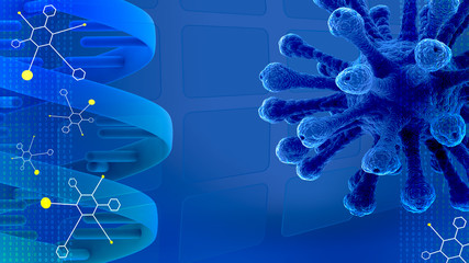 blue scientific presentation background with molecules, DNA  and