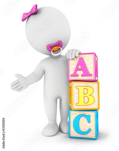 3d white people baby girl with blocks