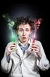Crazy doctor with test tubes