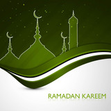 ramadan kareem card green colorful stylish wave vector