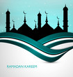 ramadan kareem card blue colorful stylish wave background