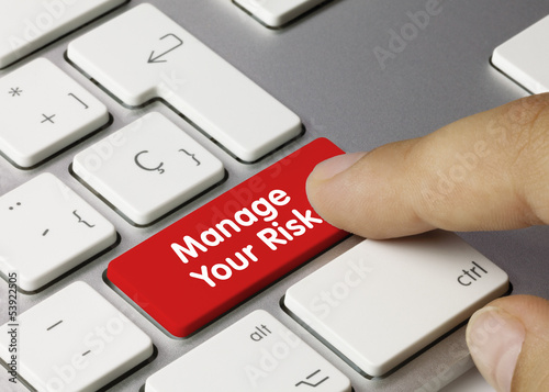 Manage your risk keyboard key finger