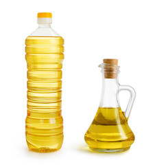 olive and sunflower oil bottles set isolated over white