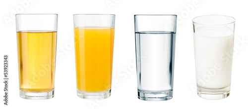 full glasses with different beverages isolated  set