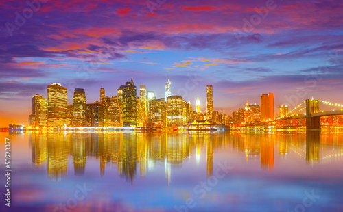 New York City USA, colorful sunset panorama of Manhattan