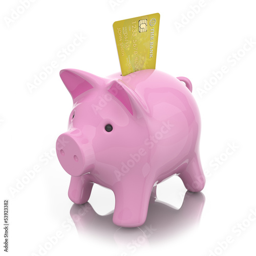 moneybox piggy emerges from the magician's hat