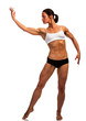 Muscled woman posing against white background