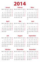 Kalender 2014 Visitenkartenformat