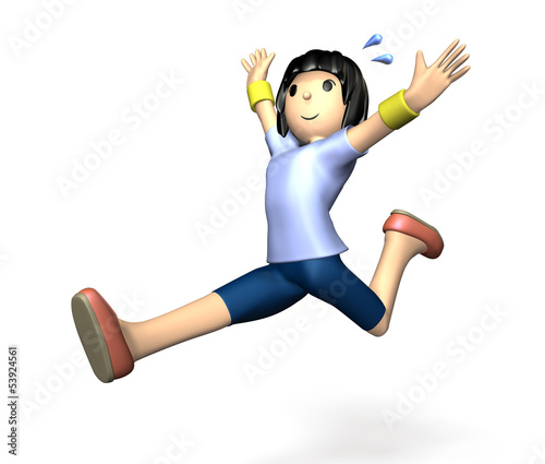 She is jump.