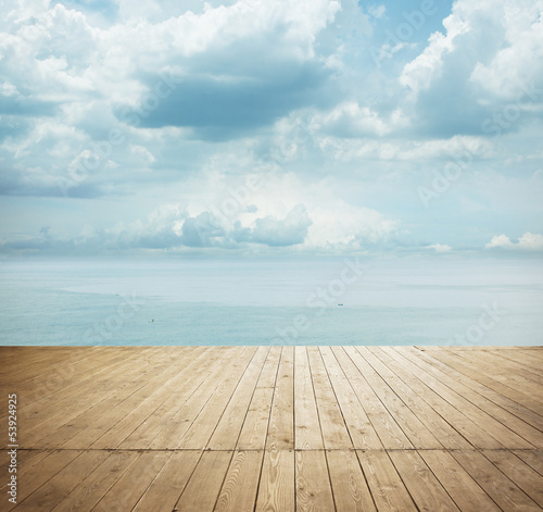 wood floor under sunny sky