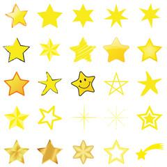 25 Gelbe und goldene Sterne