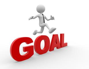 3d men fallow his goal - 3d render