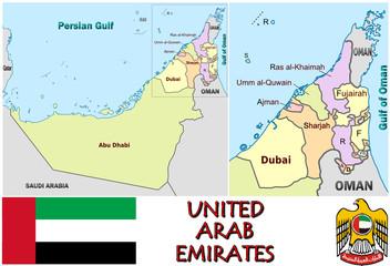 United Arab Emirates national emblem map symbol motto