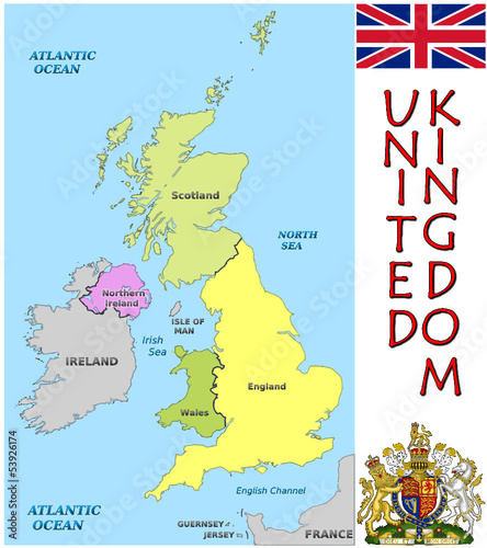 United Kingdom Europe national emblem map symbol motto