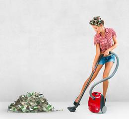 Housewife vacuuming