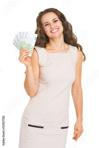 Happy young woman showing euros
