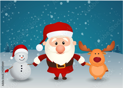 santa claus reindeer and snowman holding hands