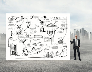 Man holding poster with business strategy