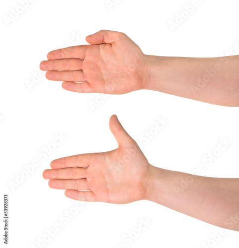 Open palm hand gesture isolated