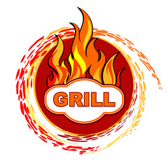 Grill sticker on fiery background design