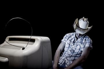 lonely tv man cowboy sleep
