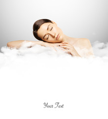 girl sleeping on cloud